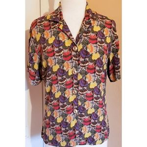 Flax Abstract Floral Button Down Shirt